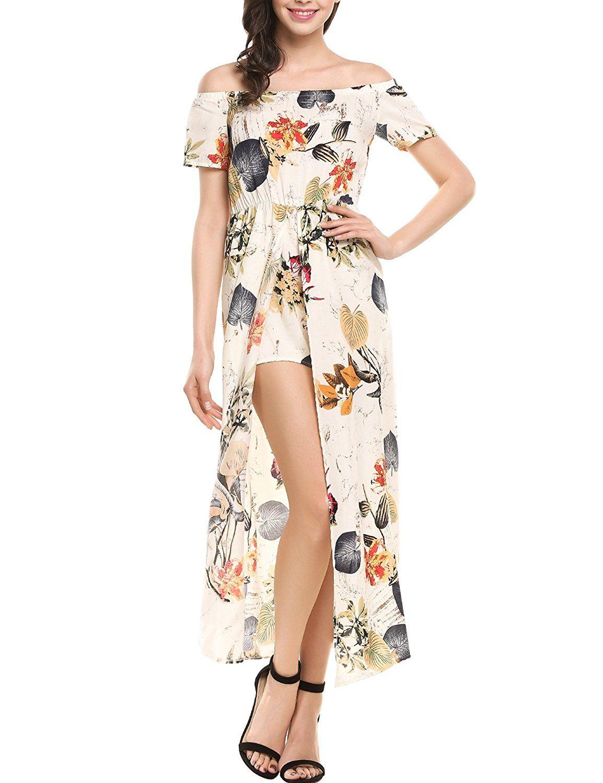 52c417171af8 Meaneor Women Floral Off Shoulder Beach High Low Split Maxi Romper Jumpsuit  Dress at Amazon Women s Clothing store