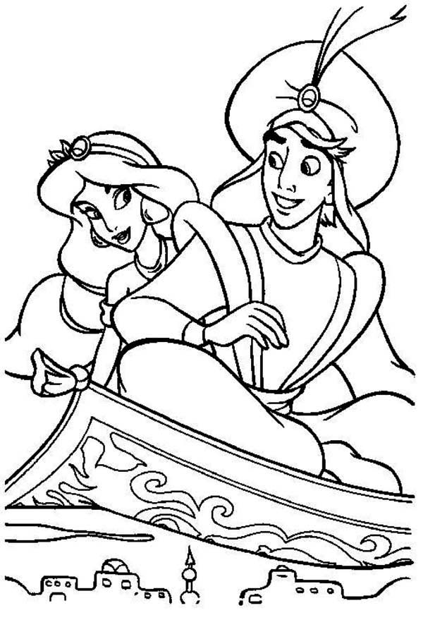 - A Romantic Evening Ride Of Aladdin And Jasmine Coloring Page - Download &  Print On… Disney Coloring Sheets, Disney Princess Coloring Pages, Cartoon  Coloring Pages