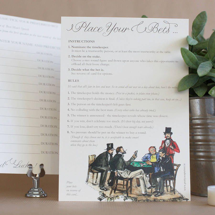 Pack Of 10 Wedding Speech Betting Cards