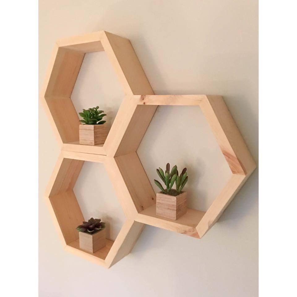 Wooden Hexagon Shelf Geometric Shelve From A Rae Handcrafts Modern Floating Shelves Diy Wall Shelves Floating Shelves