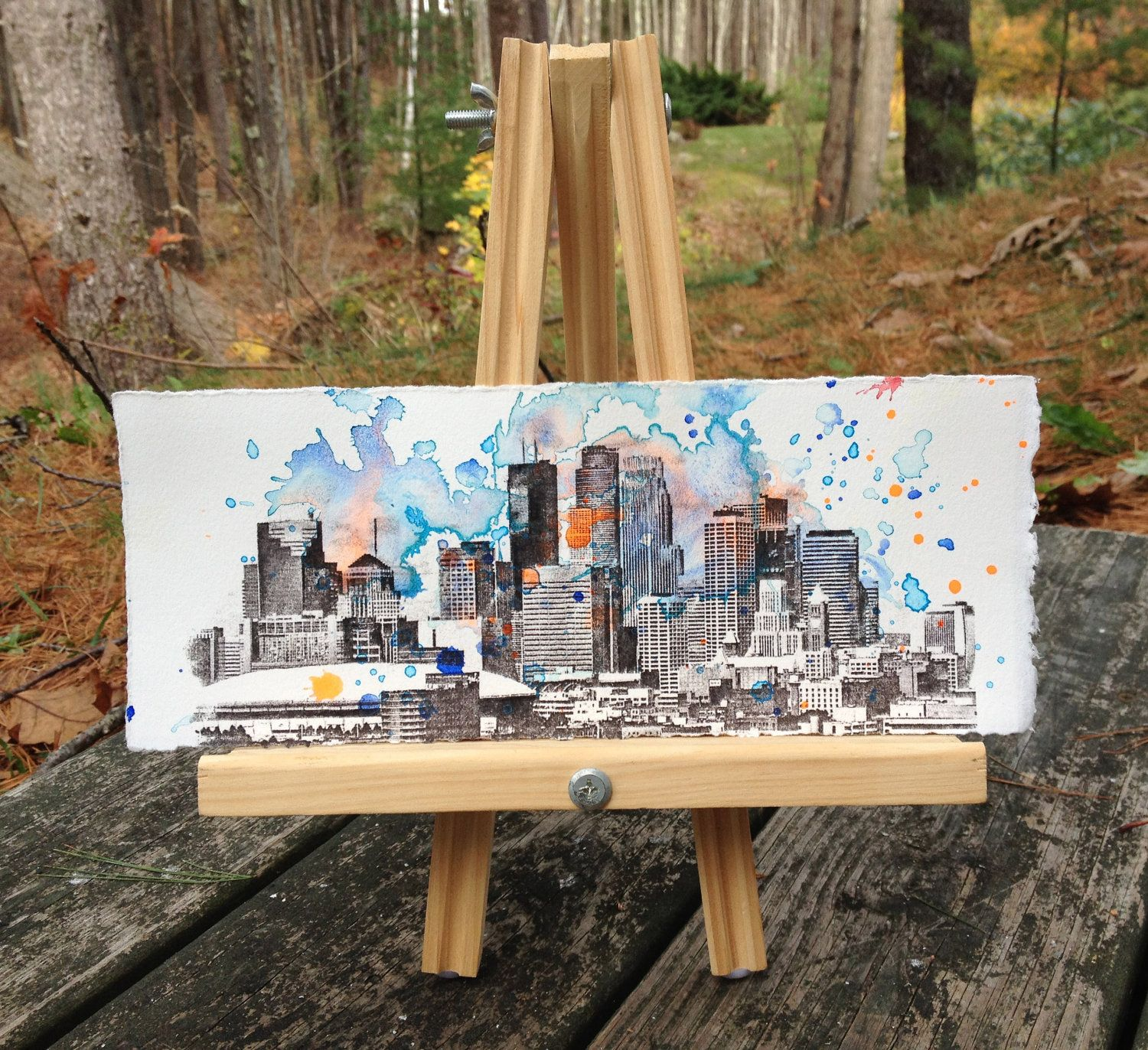 Minneapolis Minnesota Cityscape Skyline Landscape Painting - Original 11 X 4.5 in Watercolor Painting. $35.00, via Etsy.