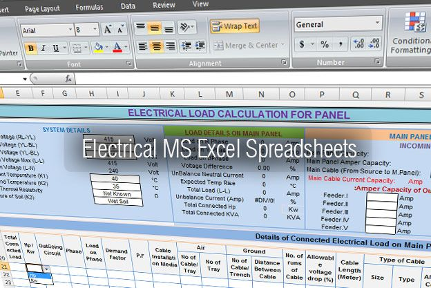 Electrical Tools - MS Excel Spreadsheets Library ✈ EE - spreadsheet formulas