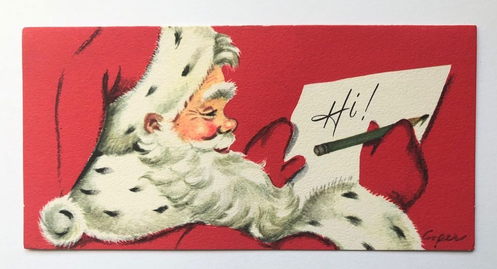 Vintage Marjorie Cooper Gibson Christmas Card Santa Claus Pencil