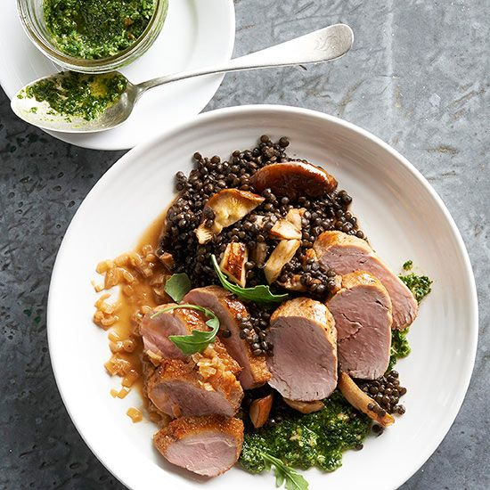 Roasted Duck and Pork with Lentils