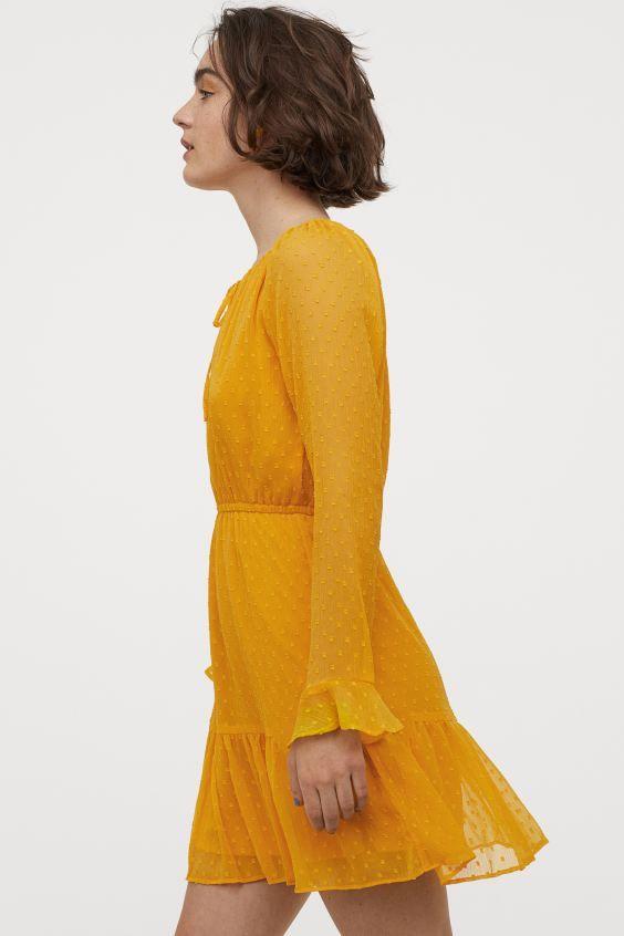 Kurzes Chiffonkleid - Gelb - Ladies | H&M DE in 2020 ...