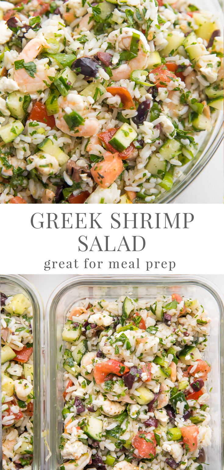 Greek Shrimp Salad With Feta And Rice Easy Healthy Recipes Recipe Easy Healthy Recipes Healthy Meal Prep Healthy Recipes