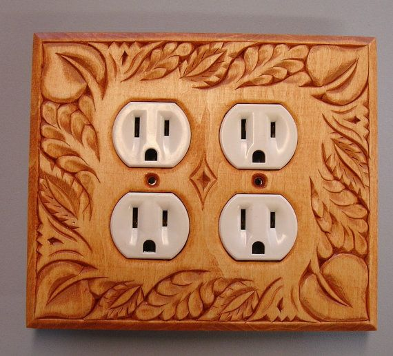 Golden Oak Finished Solid Wood Electric Outlet By Creativemind44 32 00