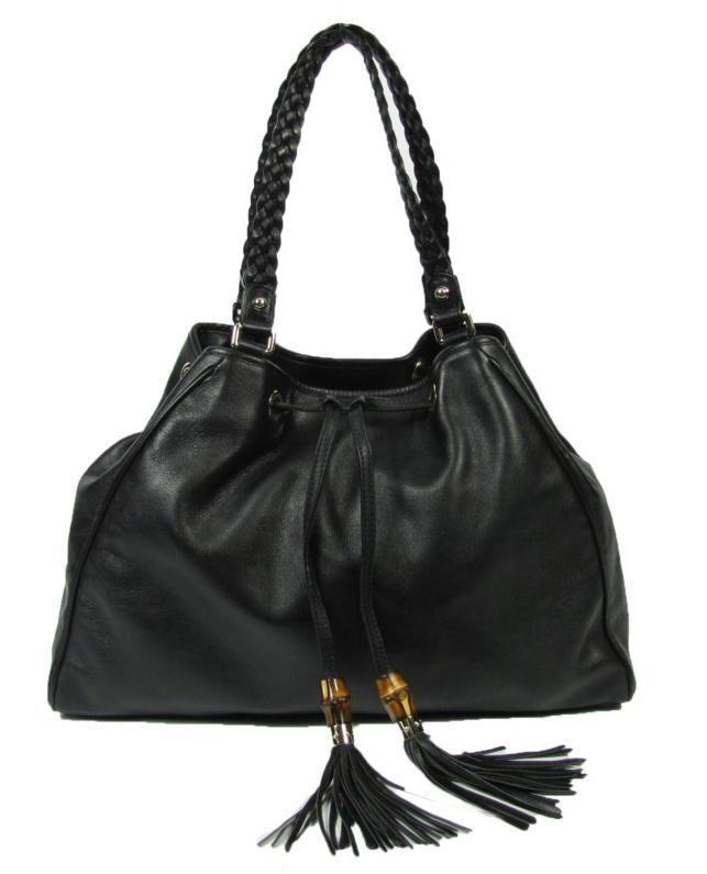 0aabffb21 Gucci Blk Peggy Bamboo Tassel Drawstring Shopper Hobo Bag Braided Straps  Leather   eBay
