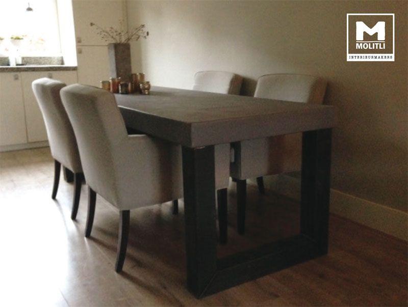Betonlook tafel met RVS poten door Molitli Interieurmakers | Love ...