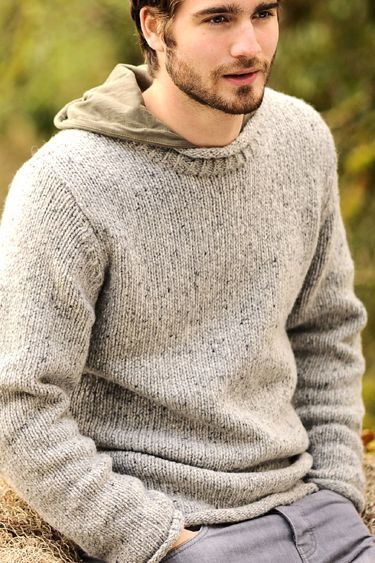 Carraig Donn Irish Aran Mens Wool Sweater Roll Collar Roll Neck