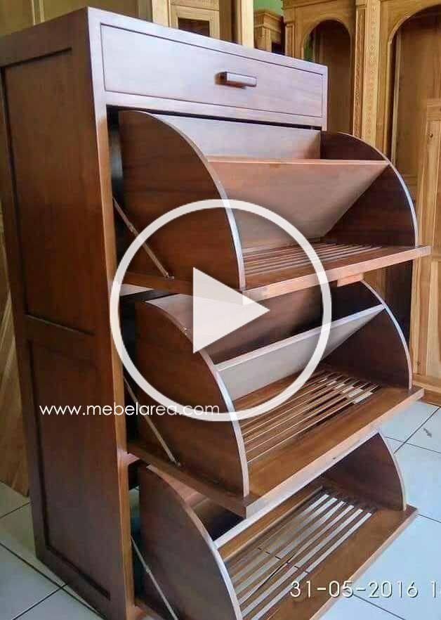 Jual Rak Sepatu Jati Minimalis Modern Model Lemari Ukuran P 62 X L