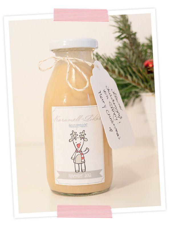 Leckerer weihnachtlicher Karamell-Likör. Mit Rezept und Etiketten ...