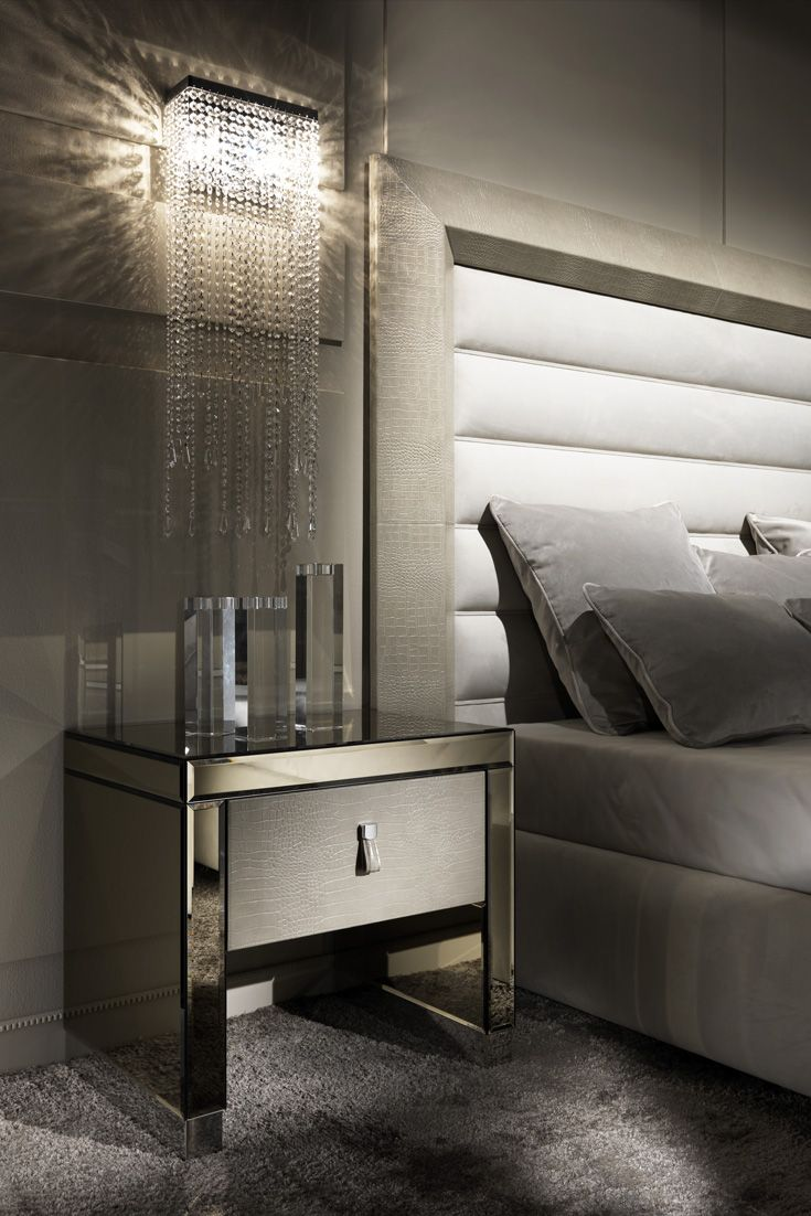 Most Beautifull Deco Paint Complete Bed Set: Modern Mirrored Alligator Embossed Leather Bedside Table