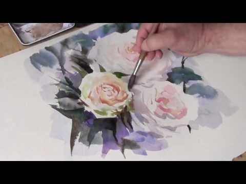 Demonstration In Watercolour Painting White Roses A Soothing