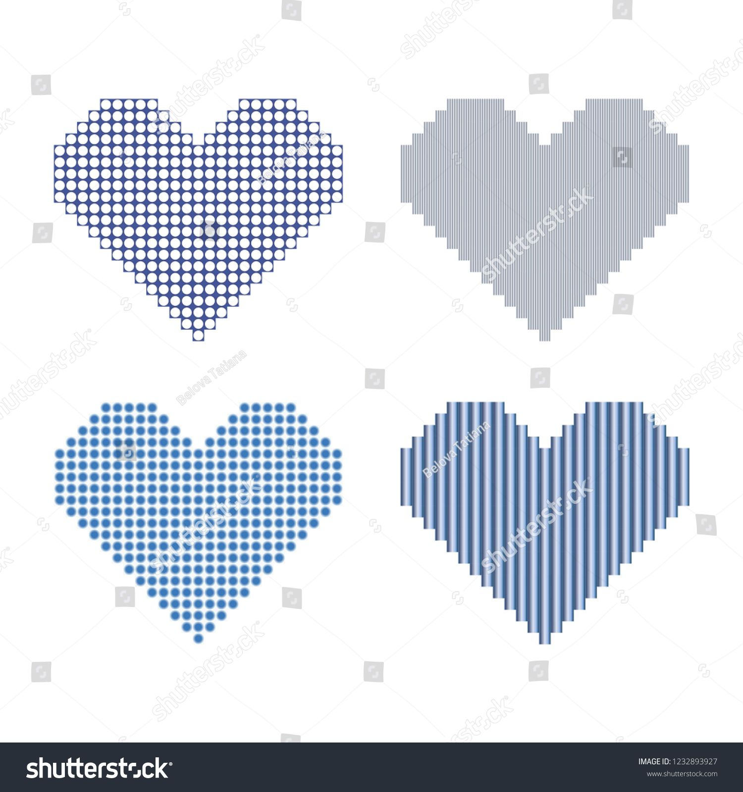 Set of style pixel hearts isolated on the white background #Ad , #Paid, #pixel#style#Set#hearts