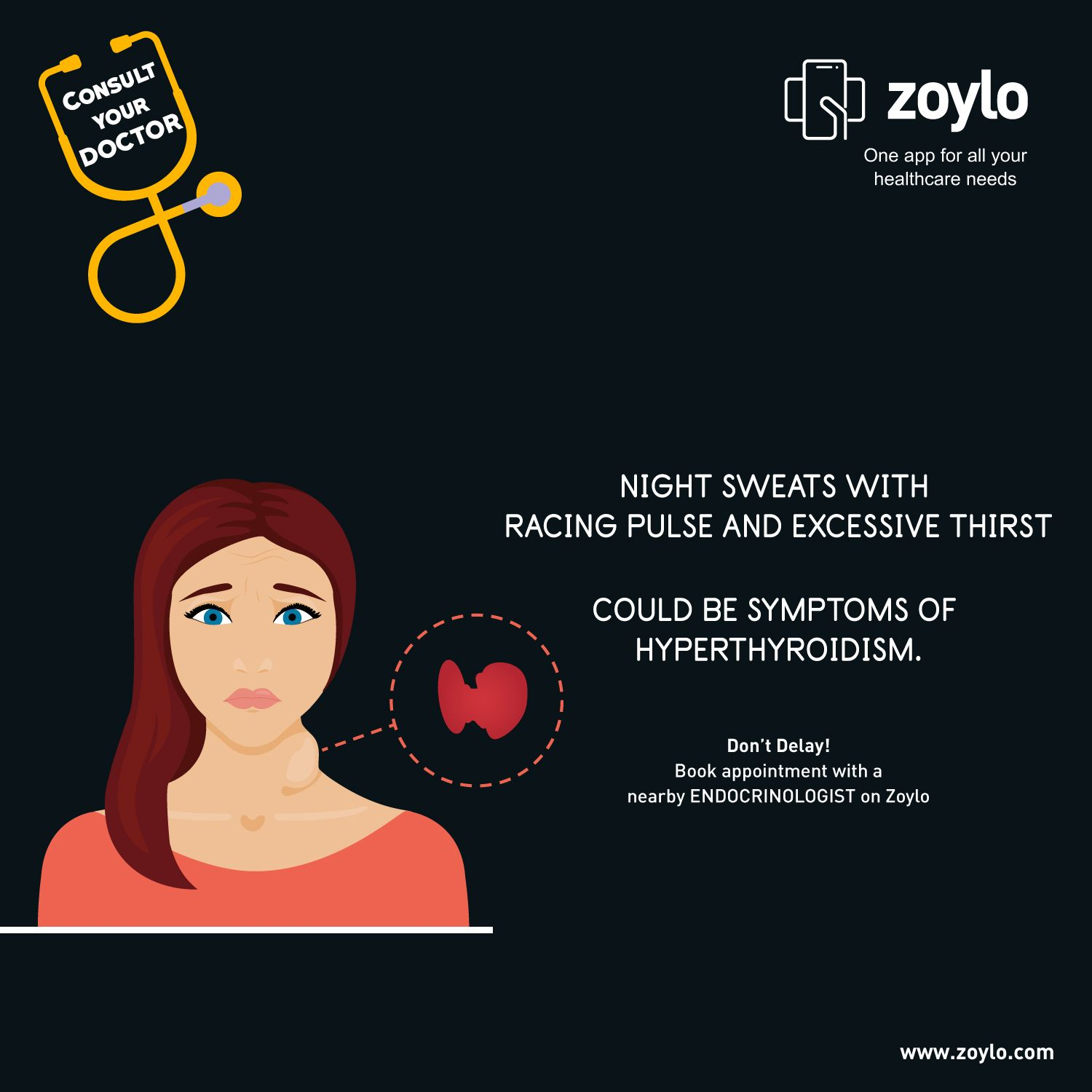 Thyroid disease is a medical condition caused because of