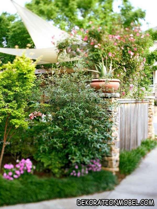 Sichtschutz Garten Baume Pflanzen Weisser Holz Zaun Sichtschutz