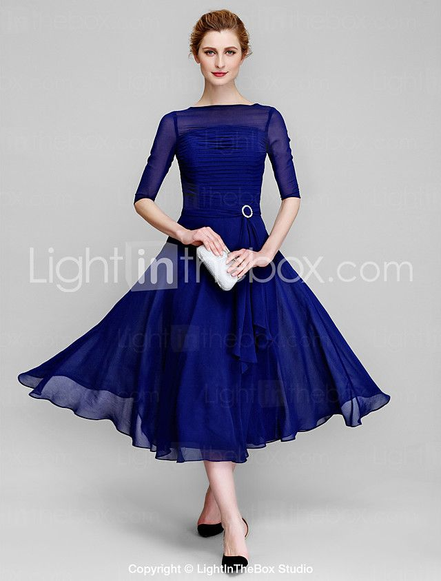 9884daa6ea1 Lanting Bride A-line Mother of the Bride Dress Tea-length Half Sleeve  Chiffon with Ruching 2016 -  89.99