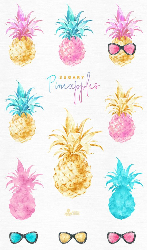 Pineapple glitter. Sugary pineapples watercolor fruit