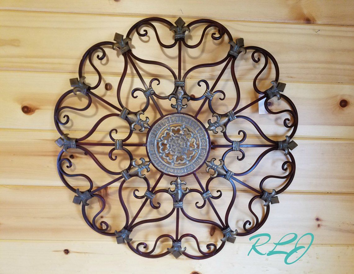 French Country Vintage Style Circular Wrought Iron Wall ...