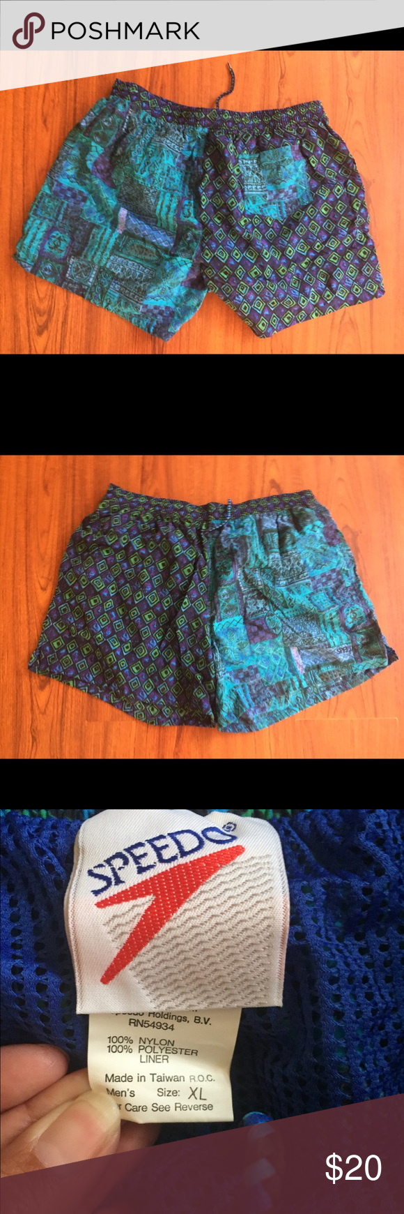 681b7acc49 90s Vintage Speedo Blue Green Swim Trunks Shorts 90s Vintage Black, Blue,  Green and