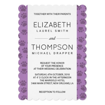 Wedding Dog Paws Traces Paw Prints Purple Card Invitations Cards Custom