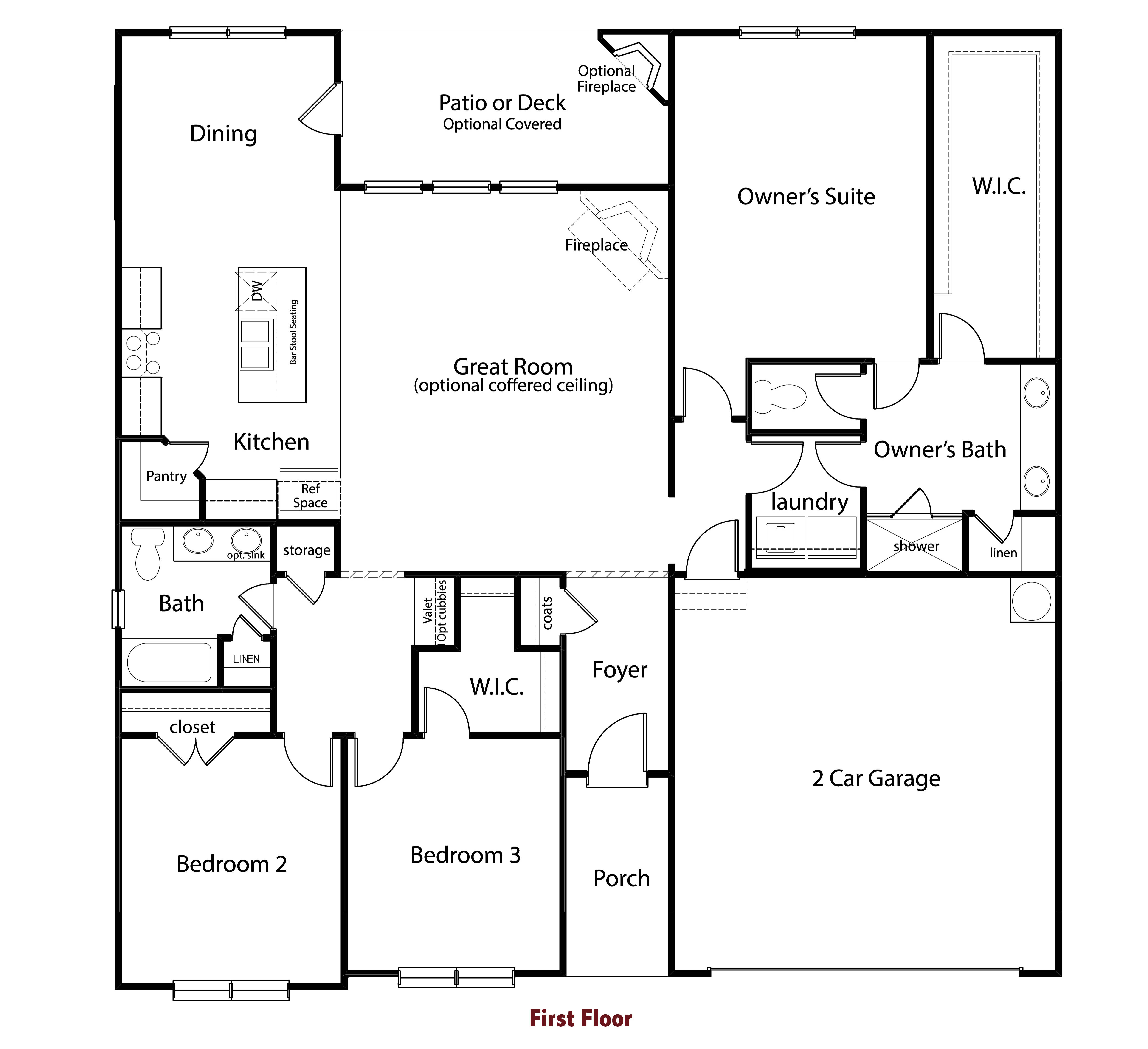 Brentwood Ranch 1800 Sf 3bd 2ba Master Down Ranch Split Bedroom Plan Separate Breakfast Dining Room Off Kitchen Floor Plans How To Plan House Floor Plans