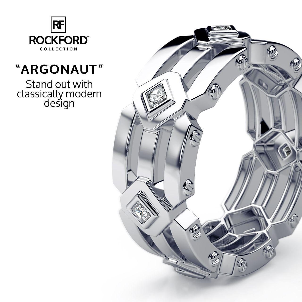 ARGONAUT Mens Gold Wedding Band with Diamonds Rings N