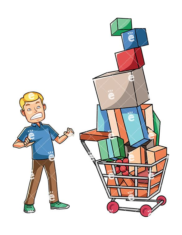 Christmas Chain Clipart.A Man Looking At His Overfull Cart With A Hint Of Guilt On