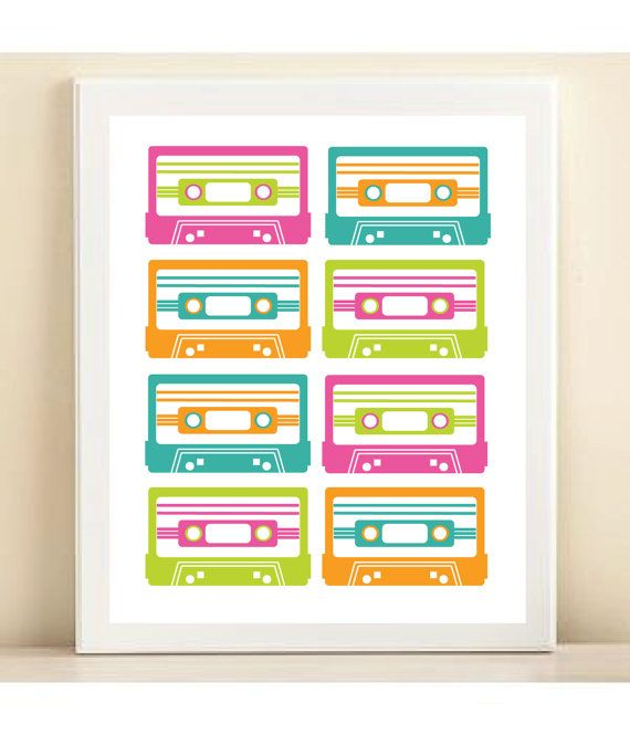 """Neon Retro """"Mix Tapes"""" print poster by AmandaCatherineDes on Etsy"""