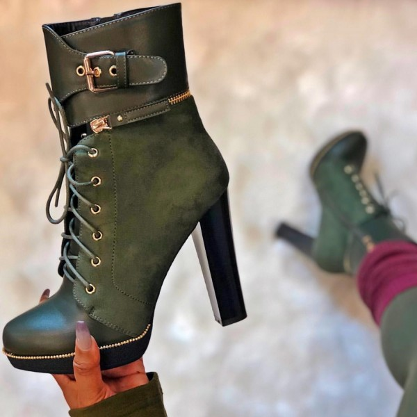 Green Lace Up Cool Ankle Boots Prefall Style Shoes Boots Chunky Heel Ankle Boots Heels