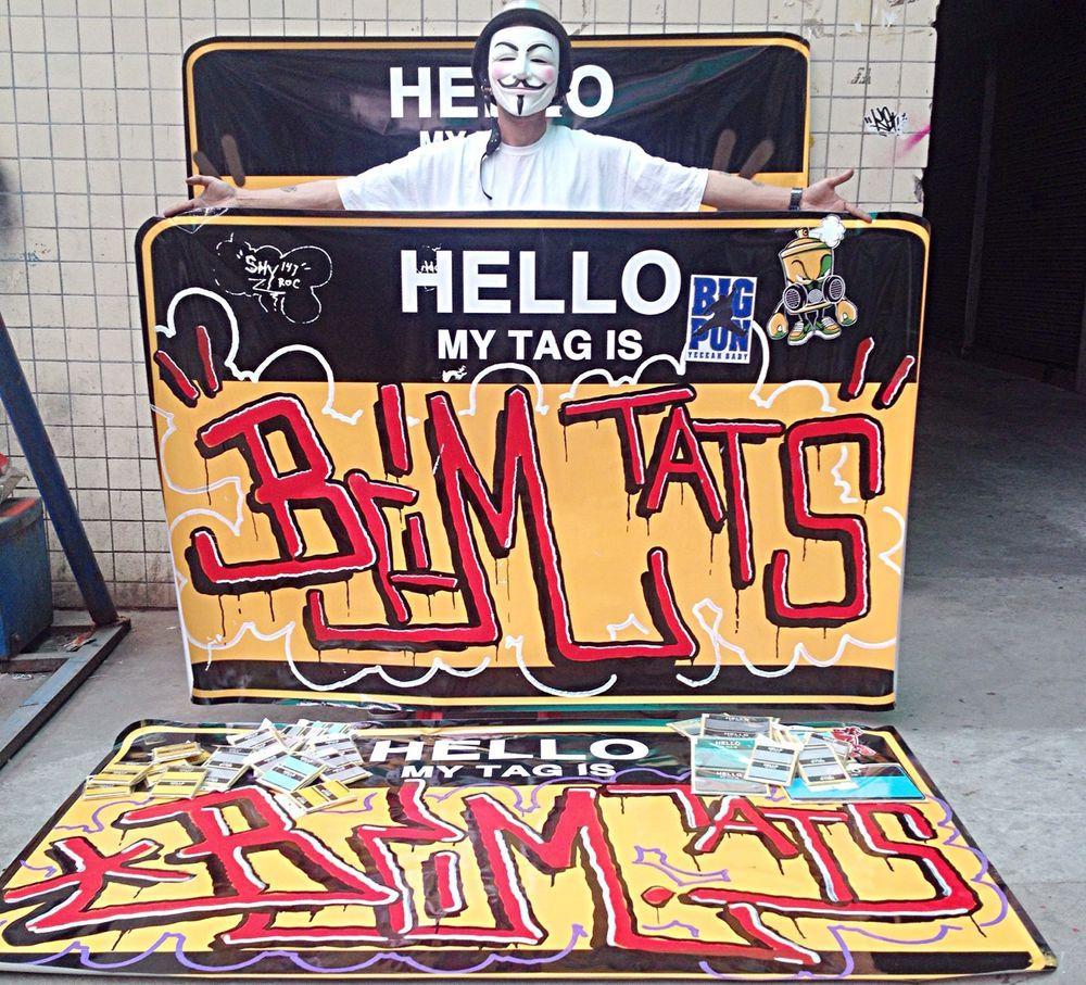 Jumbo hello my name is sticker biggest graffiti art street sticker slap stickers