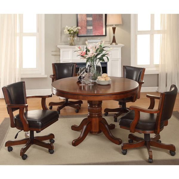 Furniture Of America Preston 5 Piece Chestnut 3 In 1 Poker Game Table Good Ideas