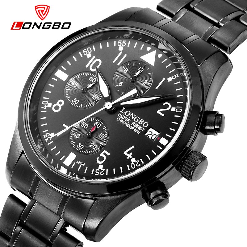 bbb4af20a00 Find More Sports Watches Information about LONGBO Brand Charm Black  Stainless Steel Mens Military Sport Watches montre homme Luxury Quartz  Chronograph Men ...