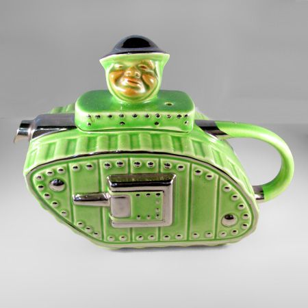 This Tank Teapot is based on the wonder weapon that first saw action in 1916. It was an instant success when first released, and was known as the Ole Bill teapot; the lid represents a soldier based on a character featured in the works of Bruce Bairnfather, a famous writer of the period. At the outbreak of WW2, the teapot again sold in record numbers-when it was noticed that the soldier's face bore a remarkable resemblance to that of the new Prime Minister, Winston Churchill.