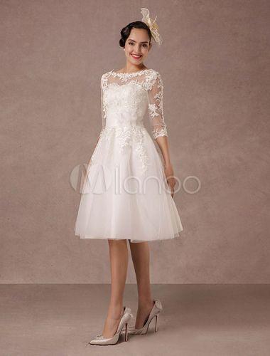 Hochzeitskleid Kurz Spitze Vintage Stilvolle Abendkleider