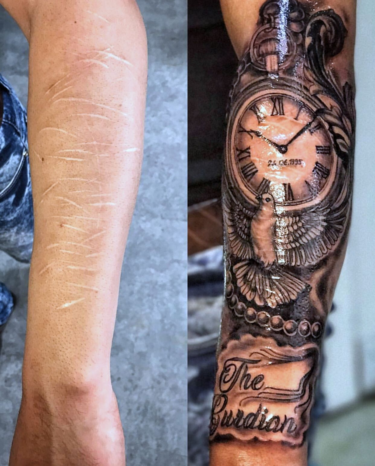 Clock Design Tattoo Dove Clock Tattoo Design Watch Tattoo Design Forearm Tattoo Men