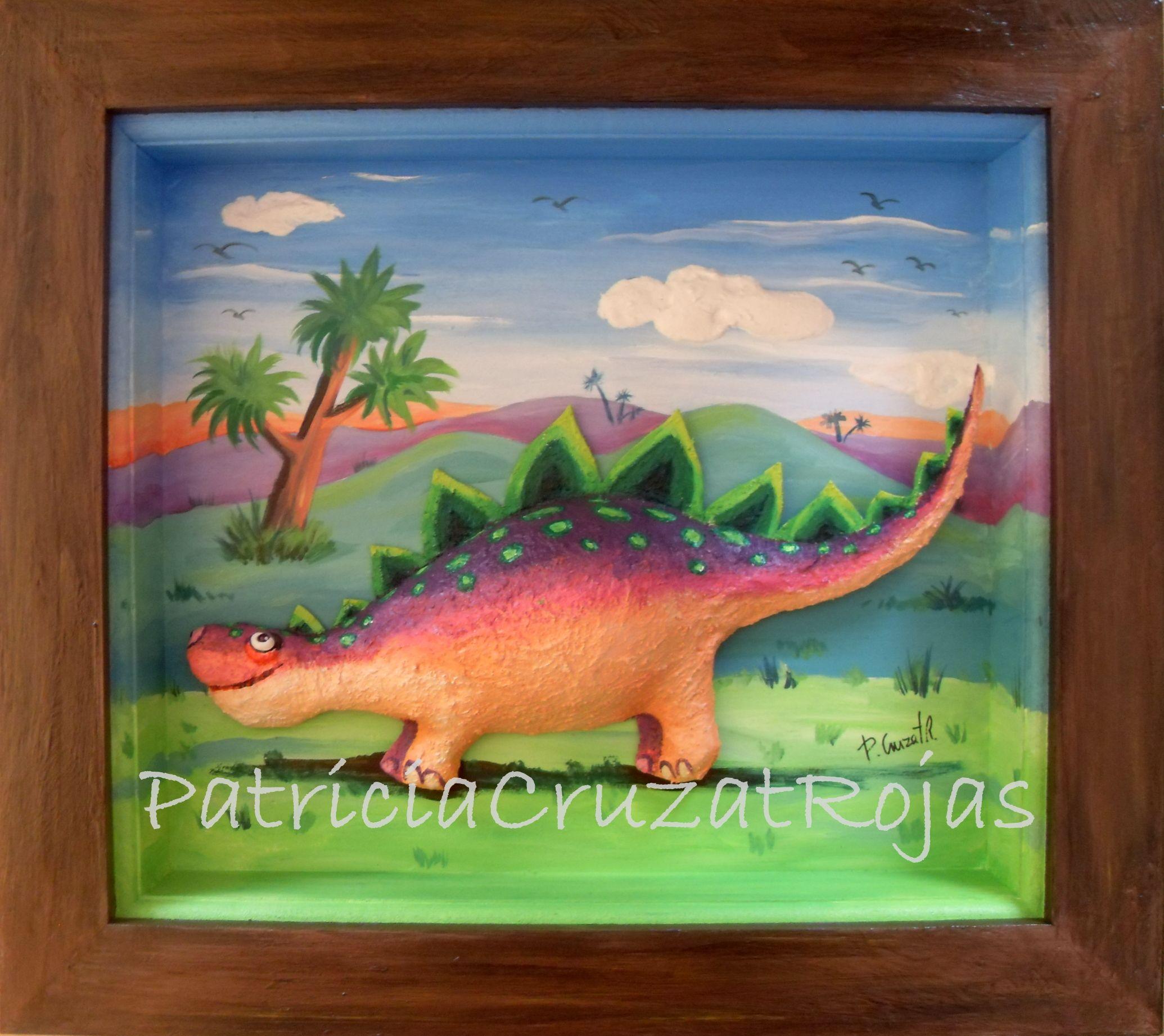Cuadro con profundidad. Dinosaurio en papel mache. 45x40cm, con ...