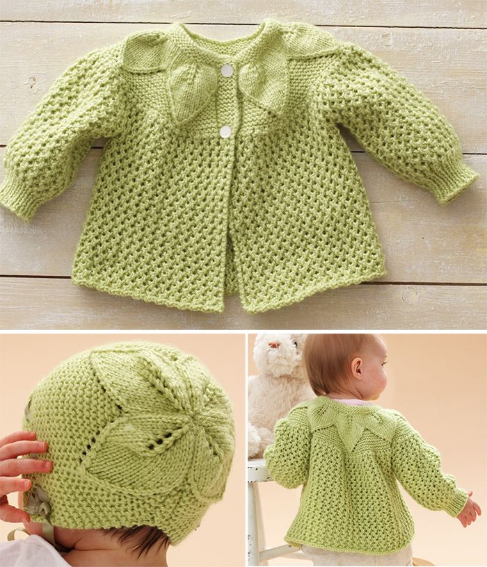 Free Knitting Pattern For Leaf And Lace Baby Set Baby Layette With