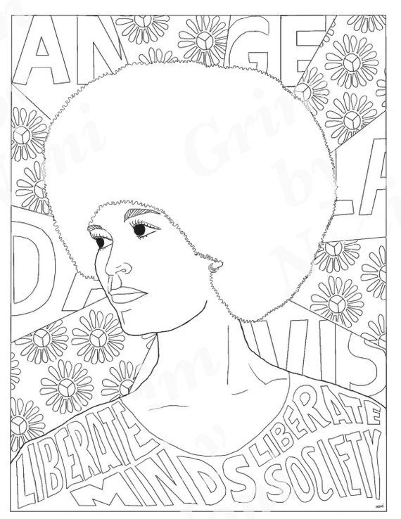 Angela Davis, Portraits, Coloring Pages for Adults