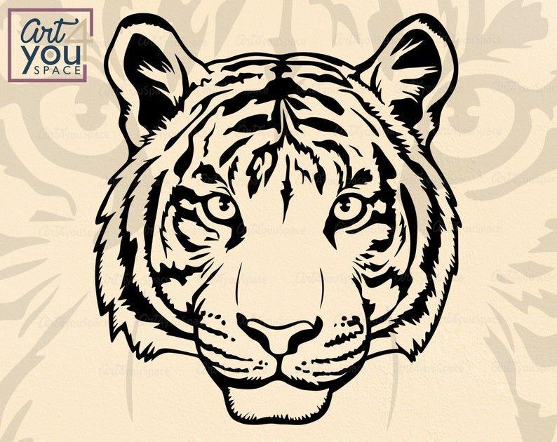 Tiger Head Svg Cricut Wild Animal Face Zoo Clipart Mascot Etsy In 2020 Tiger Face Drawing Tiger Art Tiger Drawing