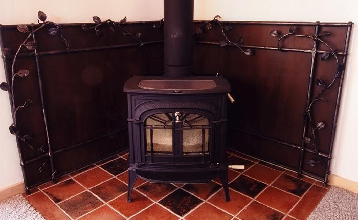 Wood Stove Heat Shield Ideas Forged Steel Frame And Vine Heat