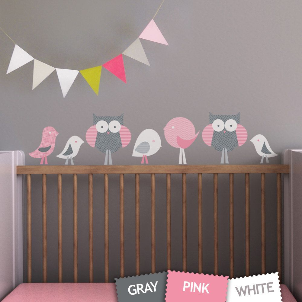 Wall art decals for nursery - Birds And Owls Children Wall Decal Wall Art Sticker For Nursery Or Kids Room