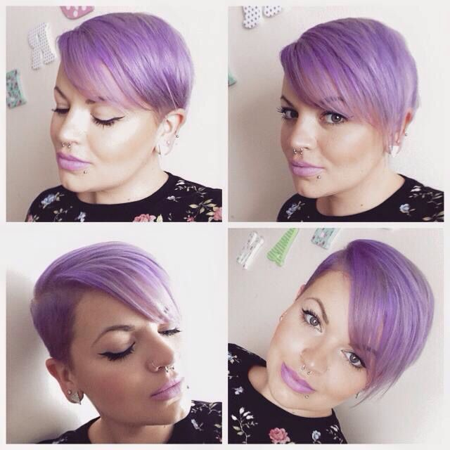 Purple pixie cut! Loved the shaved sides!
