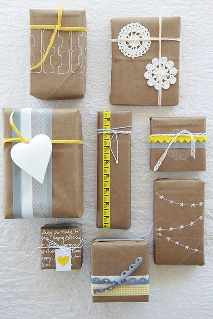 lovely kraft paper/paper bag packaging with simple adornments
