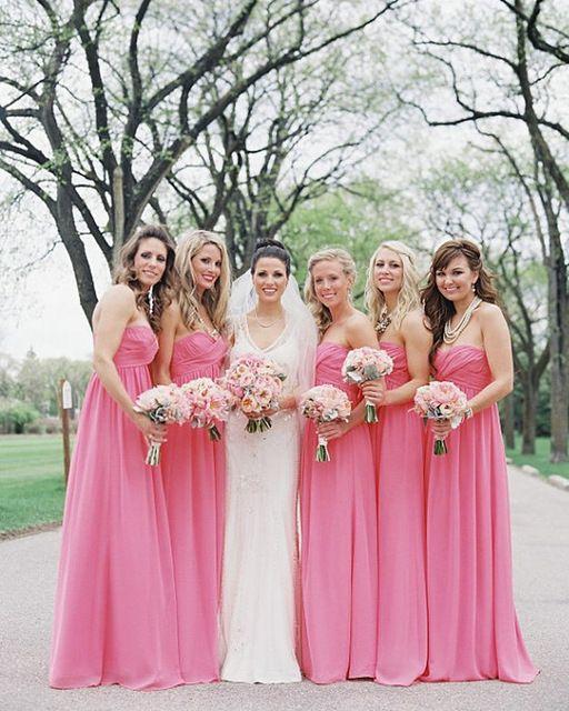 2015 Long Cheap Pink Bridesmaid Dresses Plus Size Chiffon Sweetheart Bridesmaid Dress