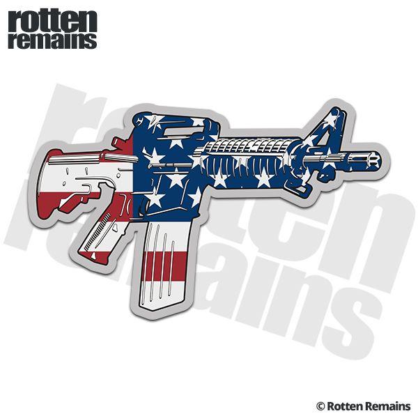 Ar 15 american flag machine gun firearm decal patriot sticker rh