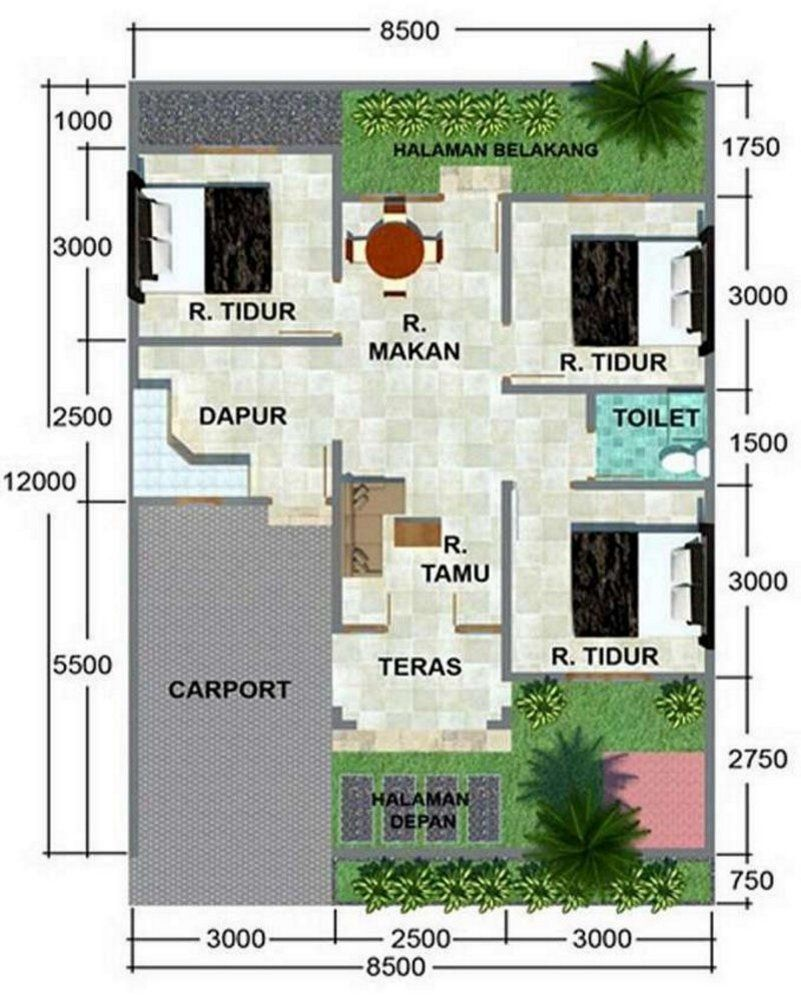 Denah Minimalis 8x15 1 Lantai Kreatif