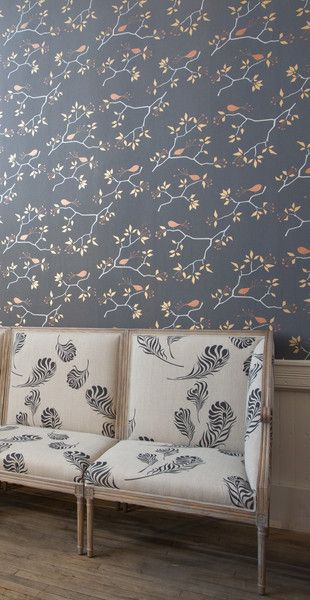Michele Varian Shop - Geo Bird Wallpaper Graphite Silver