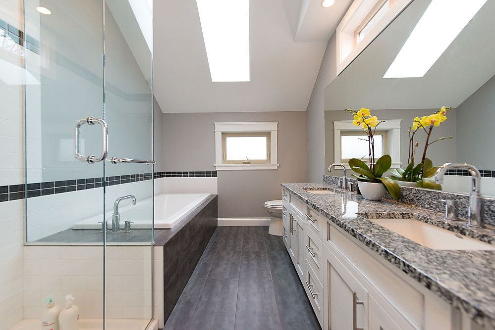 How To Create A Greyscale Bathroom: Master Bathroom With Walk-in Shower And Drop-in Tub
